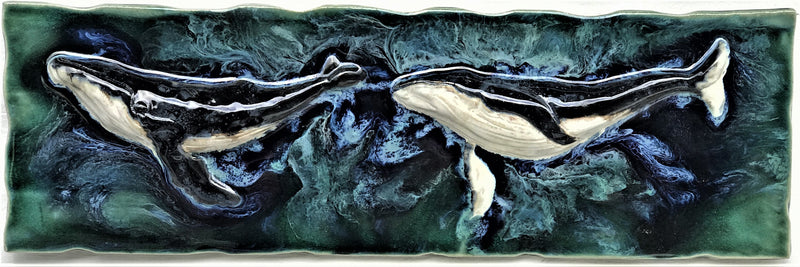 "Humpback Whale Kitchen Backsplash 23""x8.5""LP07"