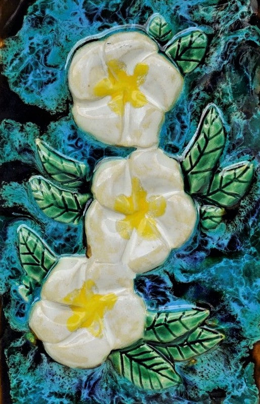 "Kitchen Plaque Plumeria Flower 8.5""x17.5"" MP47 A"