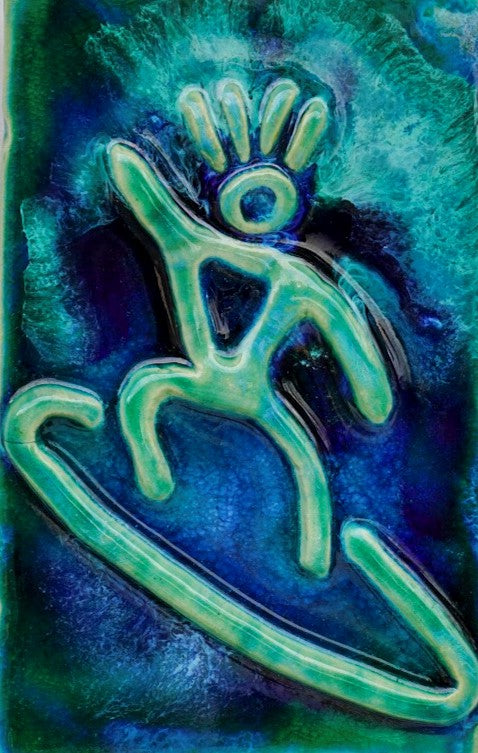 "Surfer Dude Petroglyph Design 7""x10"" SP42 $120.00"