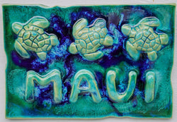 Turtle Wall Hanging, Ceramic Turtle Tile, Kitchen Backsplash with Turtle Relief Design, Turtle Bathroom Tile, Turtle Shower Tile, Turtle Jacuzzi Tile, Wall Tile Turtle, Maui Turtle, Hawaiian Sea Turtle, Green Sea Turtle, Ocean Turtles, Turtle Décor,