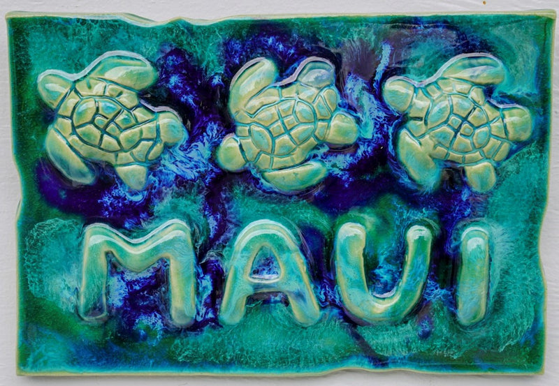 Ceramic Turtle Kitchen Backsplash - Tropical Wall Art - Wall Hanging Turtle Tile 6x6, tropical beach art, decorative wall tile, sea turtle art, beach turtle decor, made on maui turtle, Hawaiian sea turtle, maui ceramic turtles, hawaiian sea turtle, sea life art, turtle gift, turtle gifts wall art, ceramic sea turtles, green sea turtle