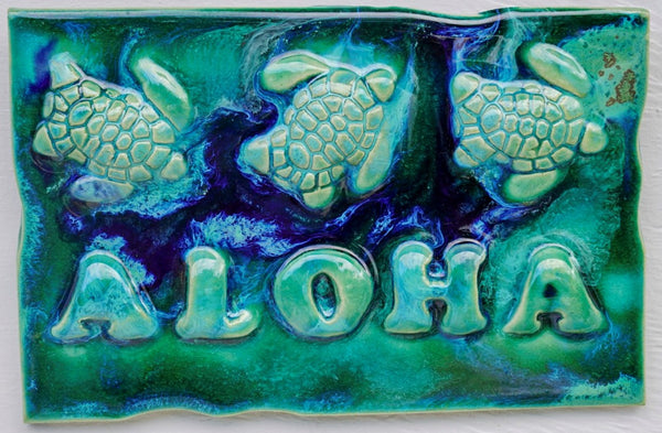 Ceramic Turtle Kitchen Backsplash - Tropical Wall Art - Wall Hanging Turtle Tile - Maui Ceramics