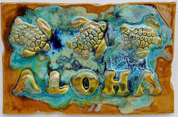 Ceramic Aloha Turtle Kitchen Backsplash Tile - Maui Ceramics
