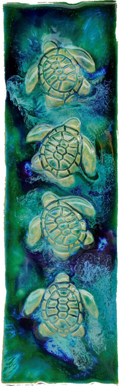 Turtle Wall Hanging, Ceramic Turtle Tile, Kitchen Backsplash with Turtle Relief Design, Turtle Bathroom Tile, Turtle Shower Tile, Turtle Jacuzzi Tile, Wall Tile Turtle, Maui Turtle, Hawaiian Sea Turtle, Green Sea Turtle, and Ocean Turtles, Turtle Décor, Turtle Wall Art