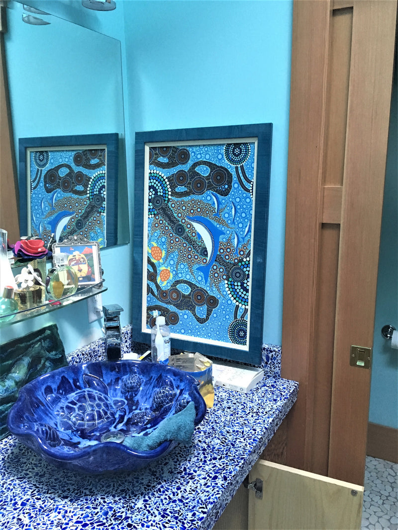 "Bathroom Sink Sea Turtles Relief Install 18.5""x5.5"" V09"