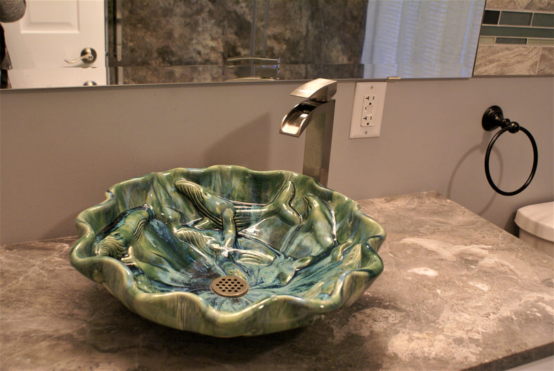 Ceramic Above Vessel Sinks, Double Vanity Sinks, Bathroom Porcelain Sinks - Maui Ceramics