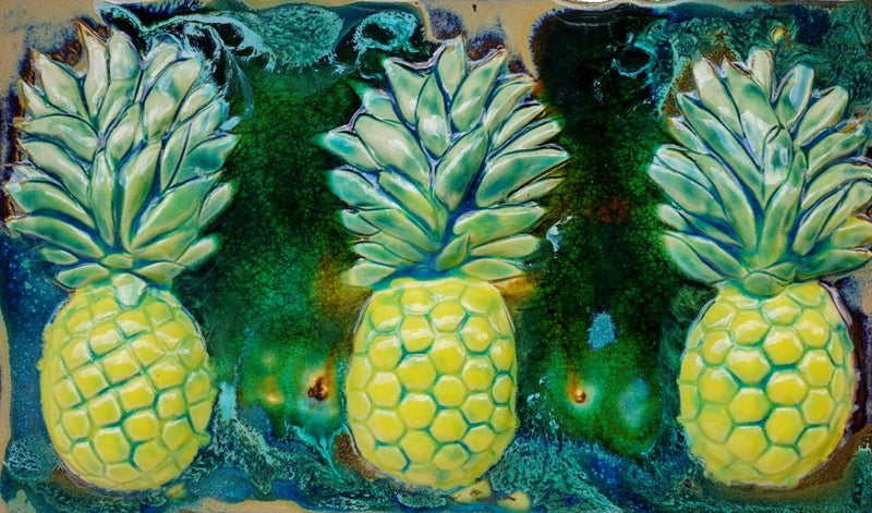 "Sweet Maui Pineapple Ceramic Backsplash, Hawaiian Pineapple Wall Hanging, 7""x10"" $69.00 SP14"
