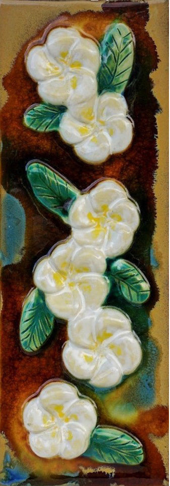 Ceramic Plumeria Flower Design Kitchen Backsplash, Bathroom Tile, Wall Hanging - Maui Ceramics