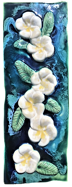 Plumeria Flower Wall Hanging, Ceramic Plumeria Flower Tile, Kitchen Backsplash Plumeria Flower Design, Plumeria Flower Bathroom Tile, Plumeria Flower Shower Tile, Plumeria Flower Jacuzzi Tile, Plumeria Flower Shower Tile, Plumeria Flower Wall Tile, Maui Plumeria Flower,  Hawaiian Plumeria Flower, Plumeria Flower Decor, Plumeria Flower Décor, Maui Ceramics Plumeria Flower