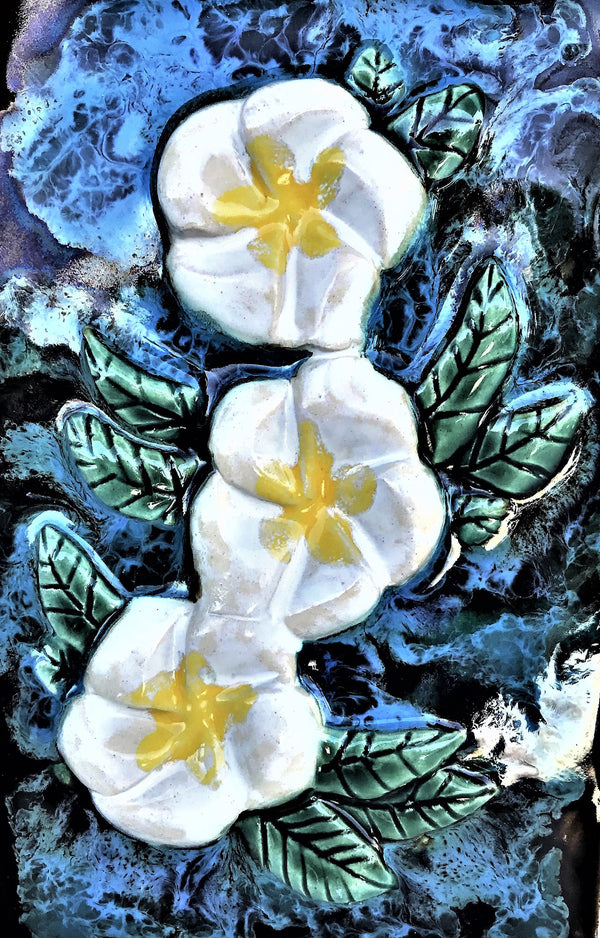 Kitchen Plaque Plumeria Flower 10.25 x 7.25 SP79   $195.00