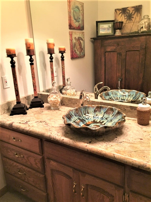 Scalloped Rim Earth-Toned Abstract Above Vessel Sink Design