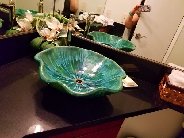 "Vessel Sink Green Pineapple Relief Design 18.5""x5.5"" V15"