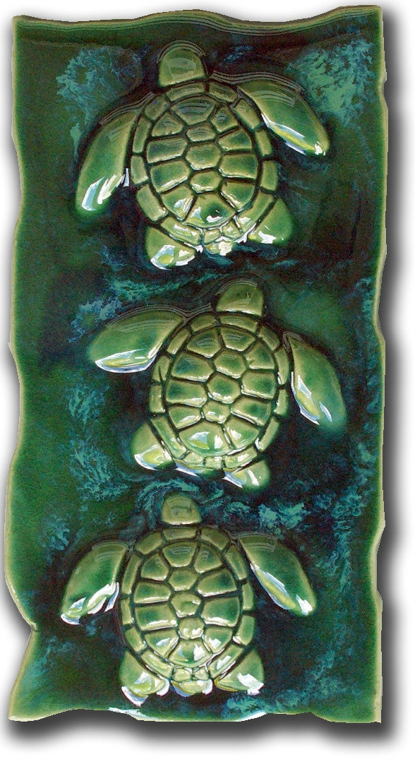 "Kitchen Tile Sea Turtles Green 7""x10"" SP28"