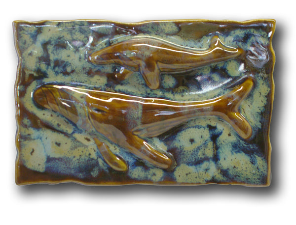 Ceramic Maui Humpback Whale Kitchen Backsplash, Humpback Whale Wall Han ging - Maui Ceramics