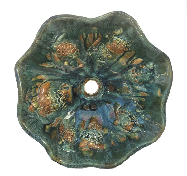 Earth-tone Scallop Rim Above Vanity Sink With Turtle Relief - Maui Ceramics