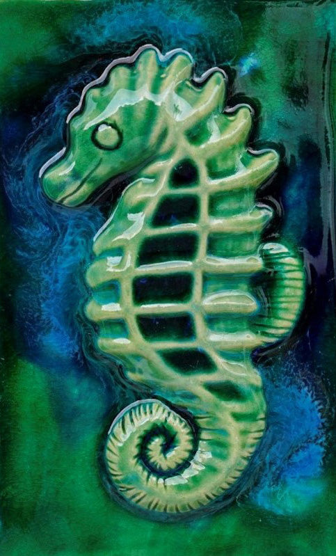 Ceramic Seahorse for Kitchen Backsplash Tiles, Seahorse Bathroom Tiles - Maui Ceramics