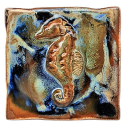 Seahorse Wall Hanging, Ceramic Seahorse Tile, Kitchen Backsplash with Seahorse Relief Design, Seahorse Bathroom Tile, Seahorse Shower Tile, Seahorse Jacuzzi Tile, Seahorse Shower Tile, Seahorse Wall Tile, Maui Palm Trees, Hawaiian Seahorse, Seahorse Decor, Seahorse Wall Art, Seahorse Décor, Seahorse Wall Art, Maui Ceramics Seahorse