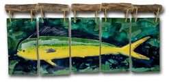 Ceramic Mahi Mahi Five Panel Wall Art w/Driftwood, Dolphin Art Decor - Maui Ceramics