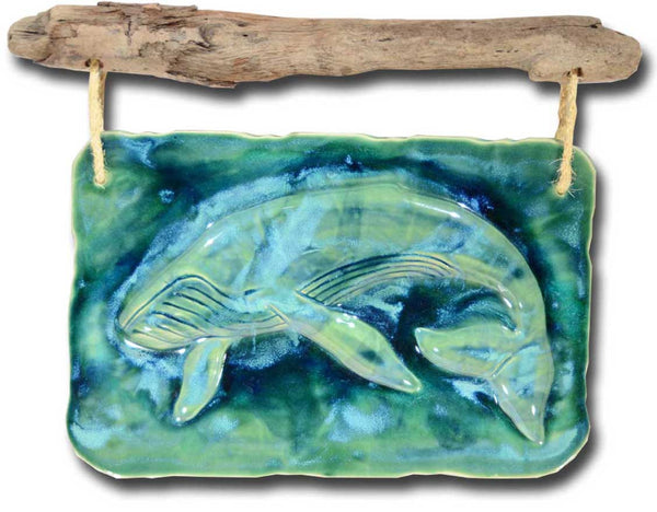 Maui Humpback Whale Wall Art w/Driftwood, Humpback Whale Art Decor - Maui Ceramics