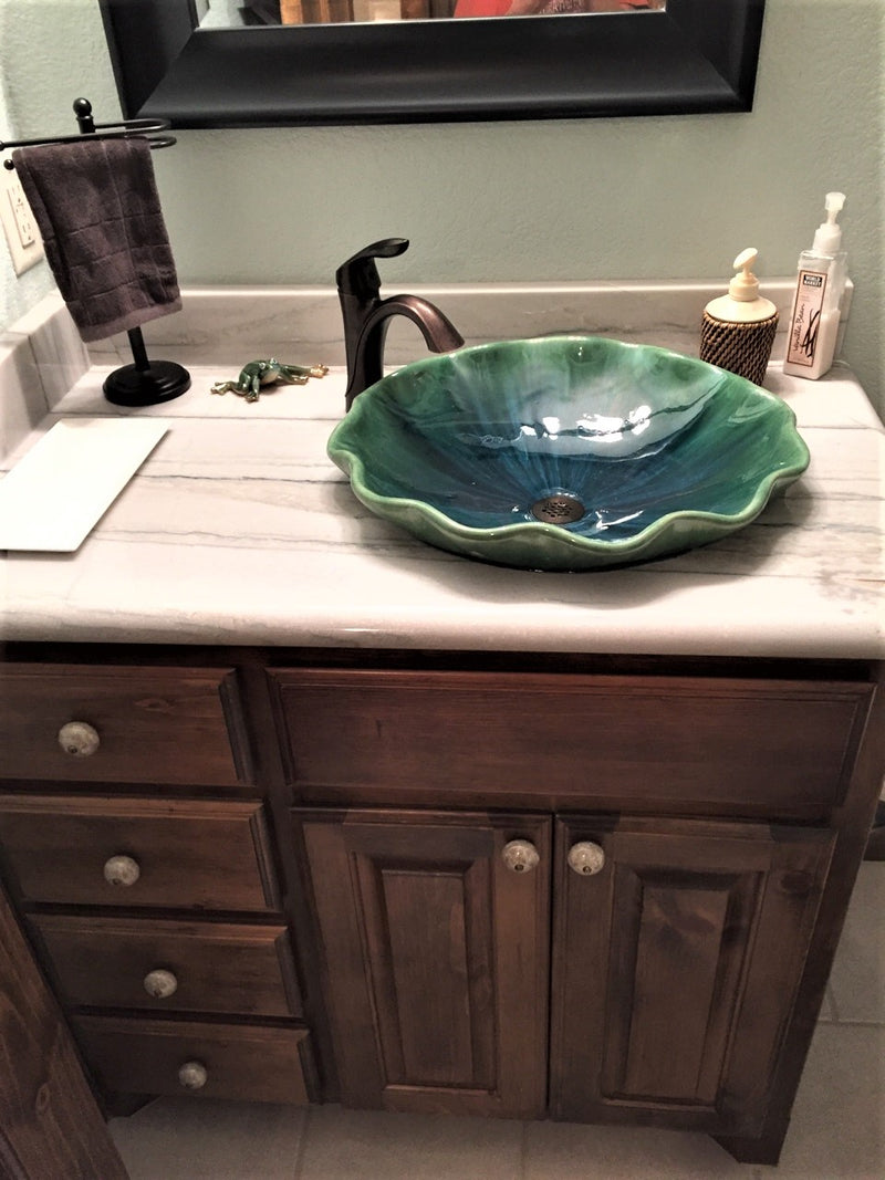 Green Tropical Semi-Abstract Above Vessel Sink - Maui Ceramics