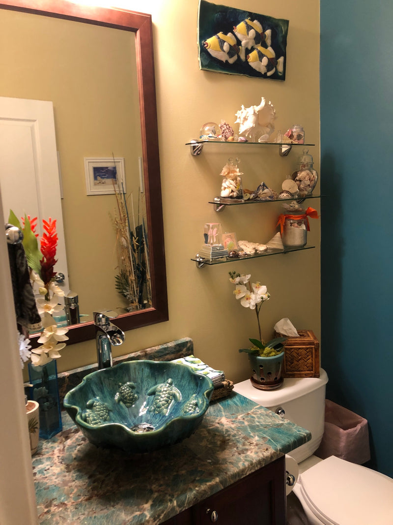 Teal Green Above Vessel Bathroom Sink With Turtle Relief