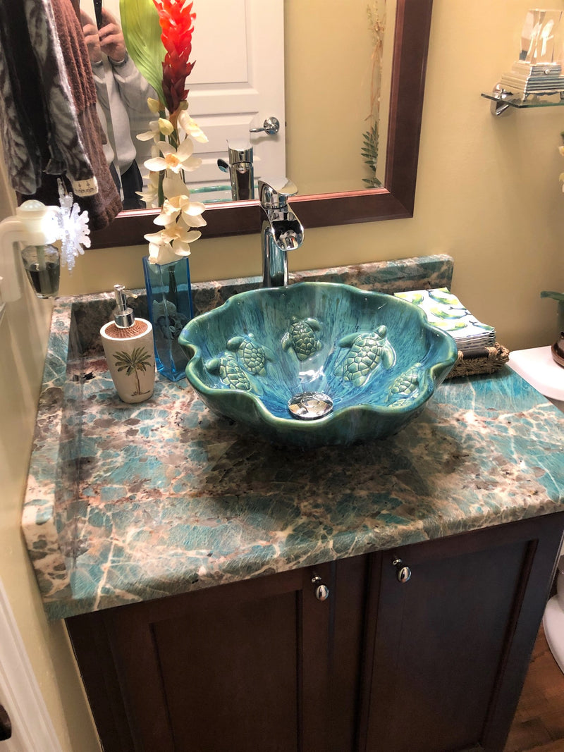 Tropical Ceramic Above Vessel Bathroom Sink With Sea Turtle Relief - Maui Ceramics
