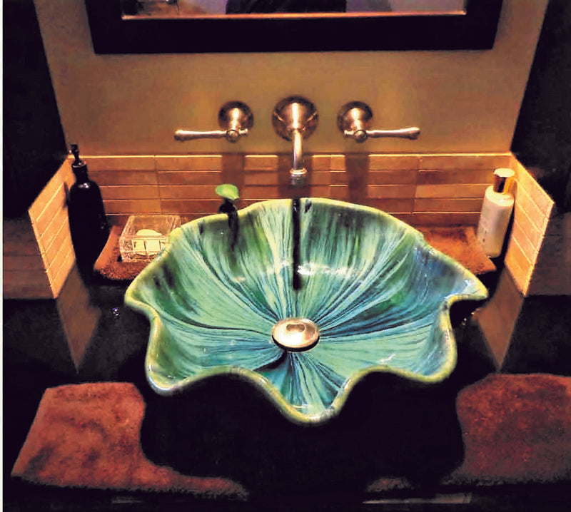 Teal Green Above Vessel Bathroom Sink With Scallop Rim - Maui Ceramics