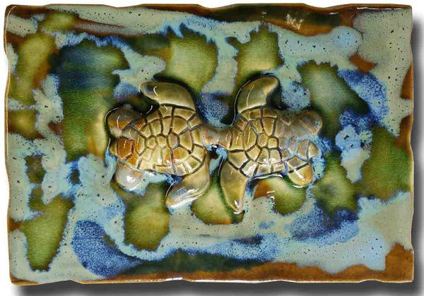kissing turtles, beach turtle decor, made on maui, Tropical Hawaii art, maui ceramic turtles, hawaiian sea turtle, sea life art, turtle gifts, turtle gift wall art, ceramic sea turtles, green sea turtle, sea turtle art, sea turtle decor, tropical bathroom decor, sea turtle bathroom art, ceramic bathroom tiles, handmade ceramic tile, ceramic turtle wall decor, ceramic turtle wall art, green turtle ceramic tiles, vintage ceramic tile, decorative wall tiles
