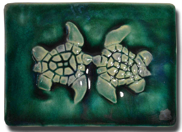 Ceramic Turtle Design for Kitchen Backsplash Tile, Bathroom Tile, Wall Hanging - Maui Ceramics