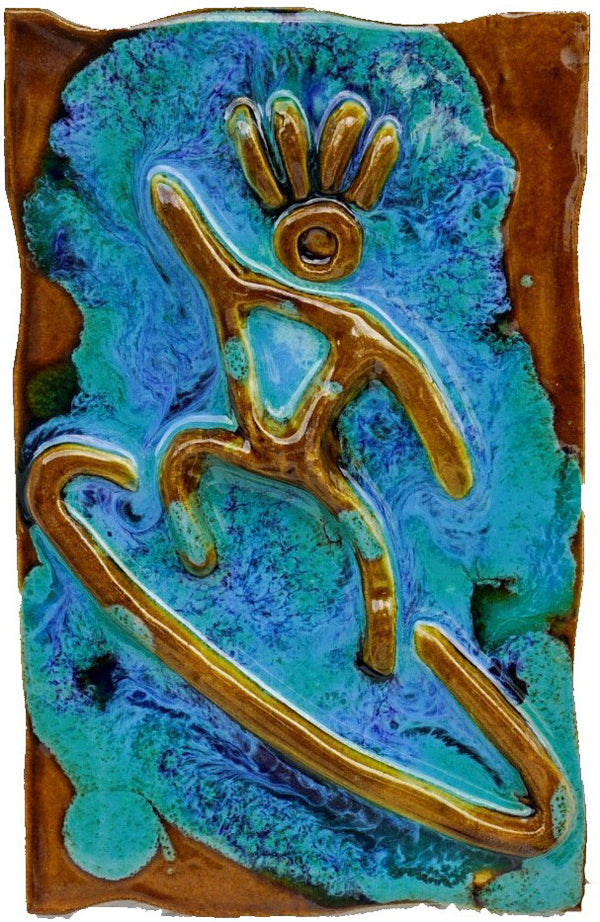 "Surfer Dude Petroglyph Design 7.25 x 10.25"" SP78  $120.00."