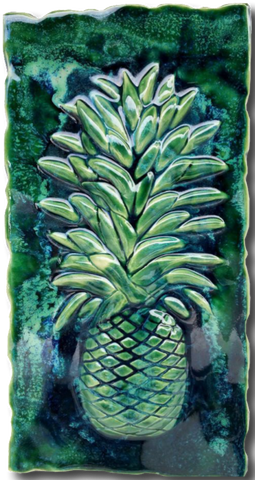 "Kitchen Plaque Pineapple Green Design 8.5""x17.5"" MP05"