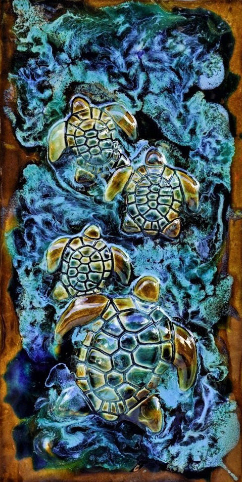"Turtle Family Wall Hanging 17.5""x8.5"" MP57 A"