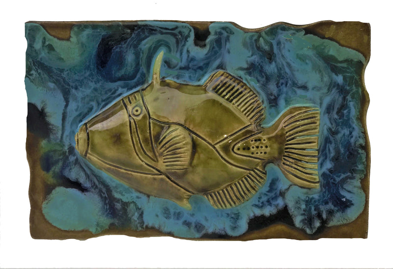 Ceramic Fish Design Kitchen Backsplash, Bathroom Tile, Wall Hanging - Maui Ceramics