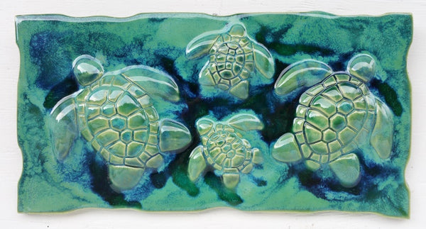 Green Turtle - Turtle Kitchen Backsplash Tile - Tropical Bathroom - Tropical Art - Maui Ceramics