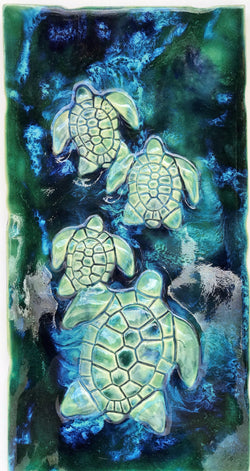 Turtle Wall Hanging, Ceramic Turtle Tile,  Kitchen Backsplash with Turtle Relief Design, Turtle Bathroom Tile, Turtle Shower Tile, Turtle Jacuzzi Tile, Wall Tile Turtle, Maui Turtle, Hawaiian Sea Turtle, Green Sea Turtle, and Ocean Turtles, Turtle Decor