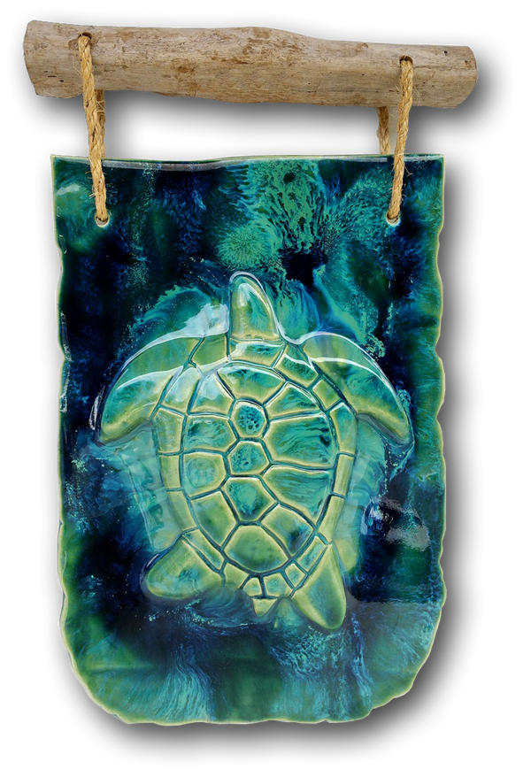 "Turtle Wall Hanging w/Driftwood Design 12.5""x17.5"" DW10"