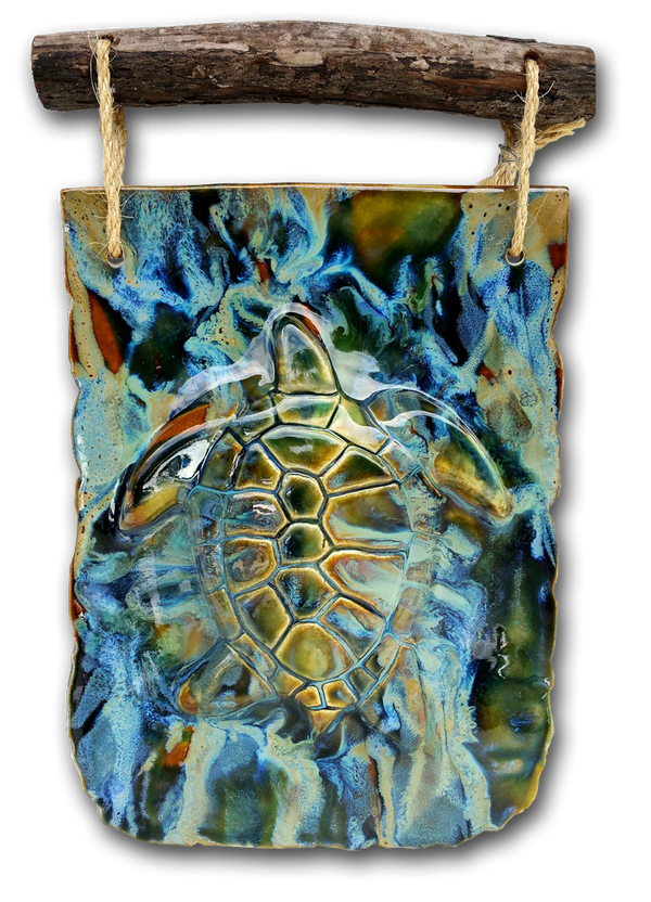 Ceramic Turtle Wall Art w/ Driftwood, Turtle Wall Hanging, Turtle Wall Art - Maui Ceramics