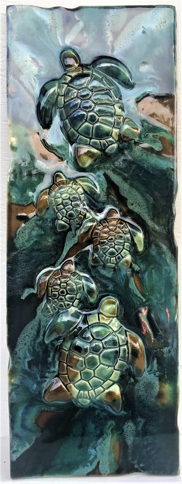 Turtle Wall Hanging, Ceramic Turtle Tile, Kitchen Backsplash with Turtle Relief Design, Turtle Bathroom Tile, Turtle Shower Tile, Turtle Jacuzzi Tile, Wall Tile Turtle, Maui Turtle, Hawaiian Sea Turtle, Green Sea Turtle, and Ocean Turtles, Turtle Décor, Turtle Wall Art, Maui Ceramics,