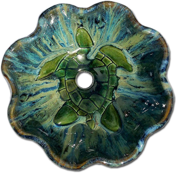 Large Single Green Sea Turtle Kitchen With Scallop Rim - Maui Ceramics
