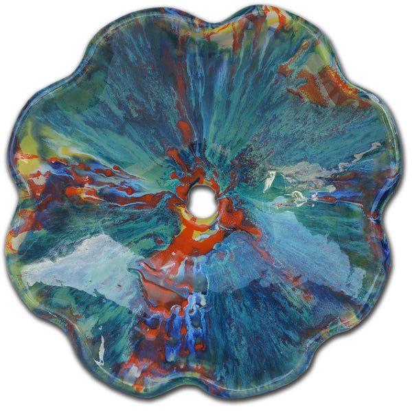 Multi-Color Psychedelic Red, Green & Blue Above Vessel Bathroom Sink - Maui Ceramics