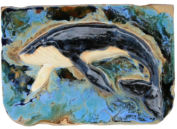 Ceramic Maui Humpback Whale and Calf 4-panel Plaque Wall Hanging, Whale Art