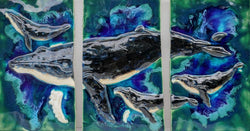 "Maui Humpback Whale and Calf, Wall Hanging 28""x 15¼"" LP29 $995.00"
