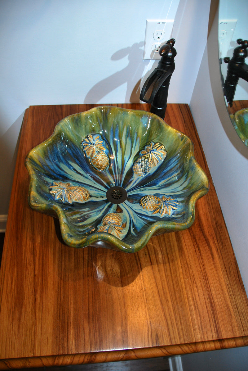 Green Sweet Maui Pineapple Vessel Bathroom Sink - Maui Ceramics