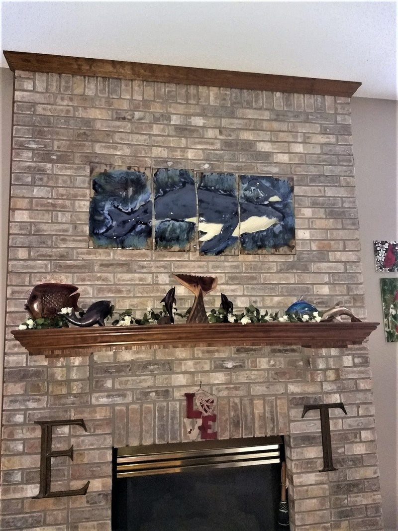 Ceramic Maui Humpback Whale and Calf Four Panel Wall Art - Maui Ceramics