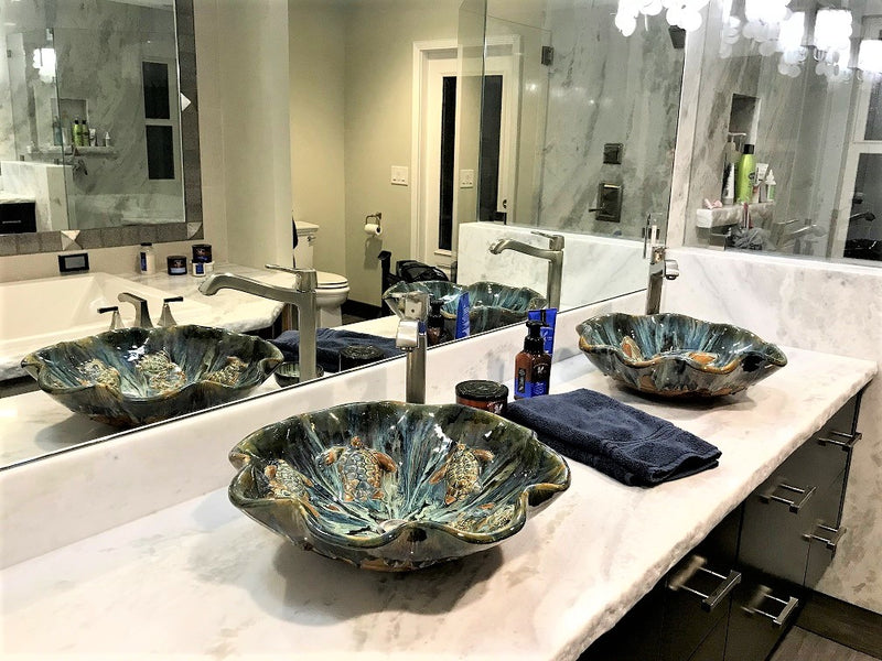"Above Vessel Sink Turtles Design 18.5""x5.5"" CS14 $1995.00"