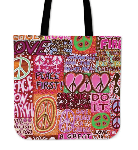 Peace and Love Cotton Tote Bag