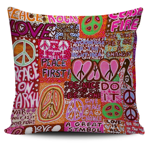 Peace and Love Pillow Cover