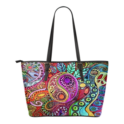 Nature's Balance Small Leather Tote Bag