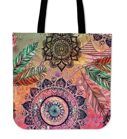 Mandala and Feathers Cotton Tote Bag