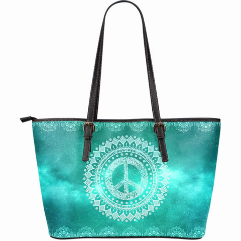 Peaceful World Large Leather Tote Bag